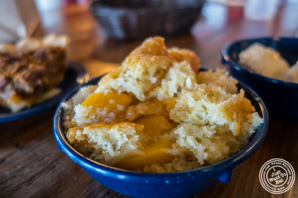 Peach cobbler at House of Que in Hoboken, NJ