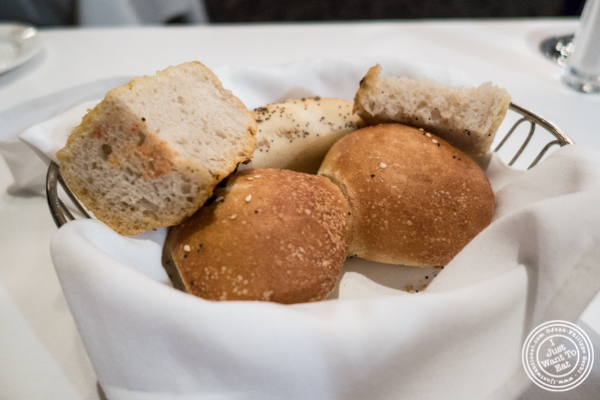 Bread basket at Delmonico's Steakhouse in The Financial District