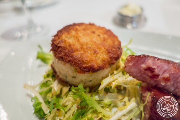 Blue crab cake at Delmonico's Steakhouse in The Financial District