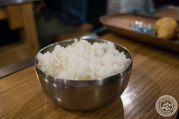 Steamed rice at Gunbae in TriBeCa