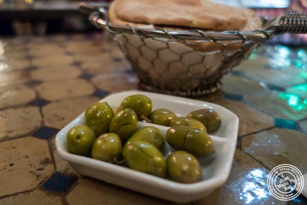 Olives cassées  or cracked olives at Salam café in Greenwich Village, NYC