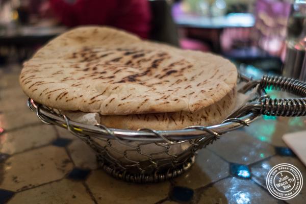 Pita bread at Salam café in Greenwich Village, NYC