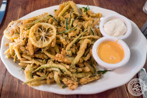 Fried onions at Bubby's in TriBeCa, NYC