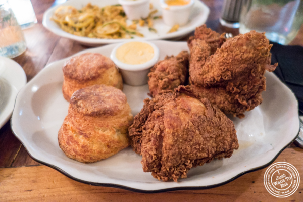 Fried chicken and biscuits at Bubby's in TriBeCa, NYC
