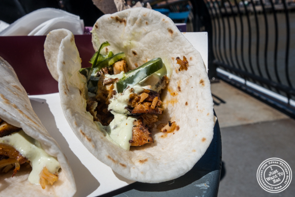 Chipotle chicken tacos from Oink and Moo BBQ at Pier 13 in Hoboken, NJ