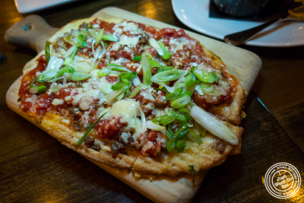 Homemade fennel sausage flatbread at The Gilroy on the Upper East Side, NYC, New York