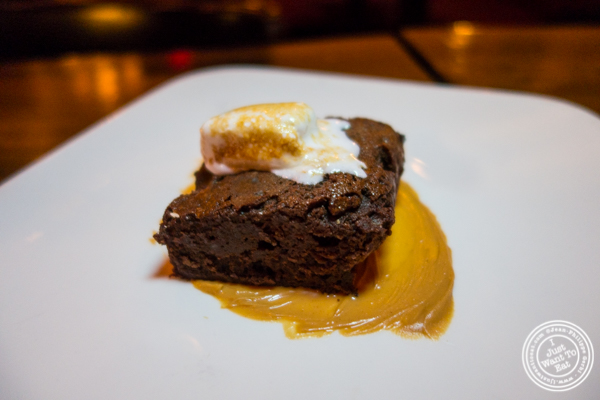 Warm chocolate brownie with peanut butter at The Gilroy on the Upper East Side, NYC, New York