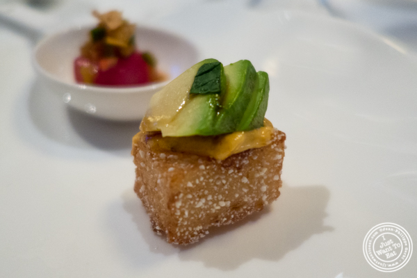 Avocado on crispy rice at Jean-Georges in NYC, New York