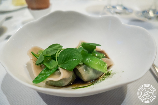 Pea shoot dumplings at Jean-Georges in NYC, New York