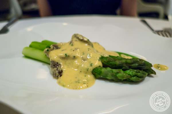 Green asparagus and morels at Jean-Georges in NYC, New York