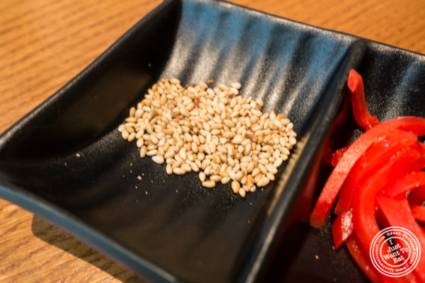Sesame seeds at Ramen Zundo-Ya in NYC, New York