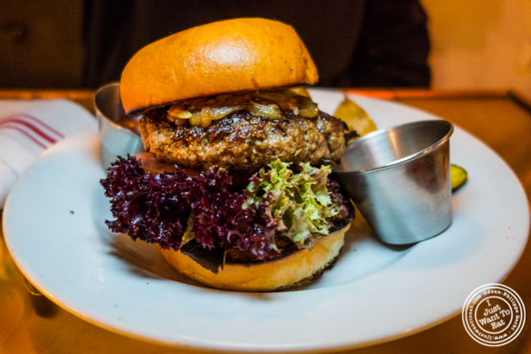 Bone marrow and brisket burger at Swine in NYC, New York