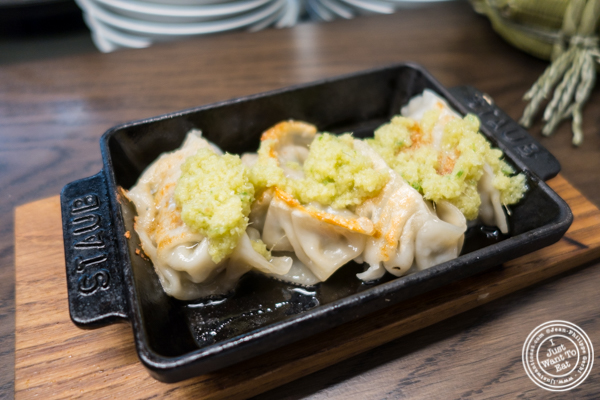 Tsetsunabe pork gyoza at Momosan Ramen and Sake in NYC, New York