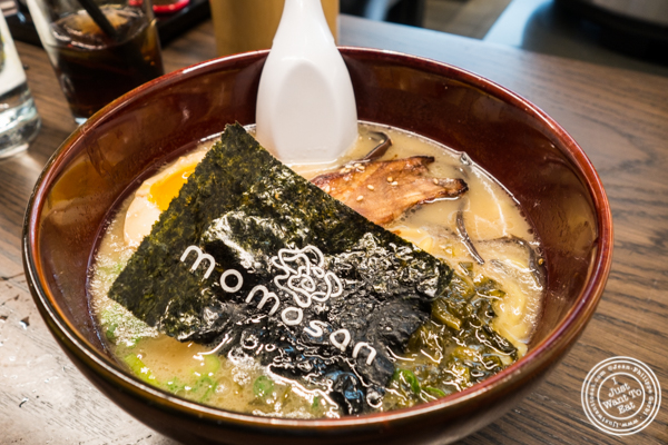 Tonkotsu ramen at Momosan Ramen and Sake in NYC, New York