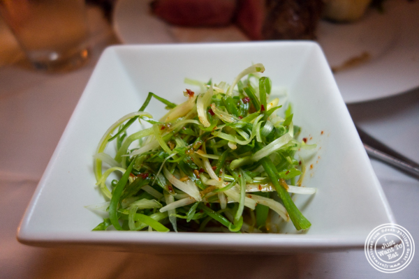 Greens with soy sauce at Prime and Beyond, Korean steakhouse in New York