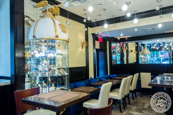 Dining room at Olma Caviar Boutique & Lounge on the Upper West Side, NYC