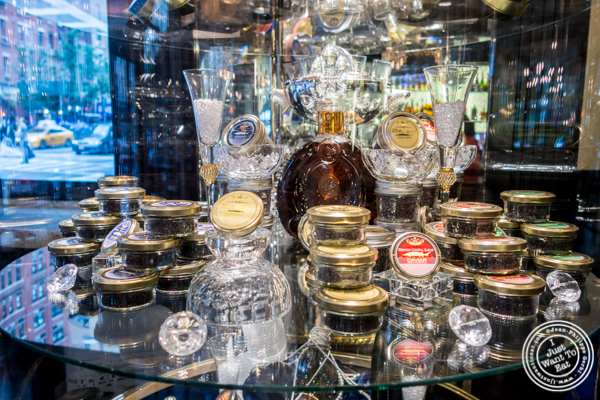 Display at Olma Caviar Boutique & Lounge on the Upper West Side, NYC