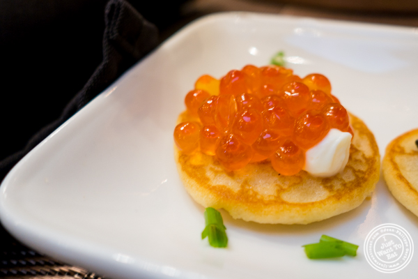 Salmon caviar at Olma Caviar Boutique & Lounge on the Upper West Side, NYC