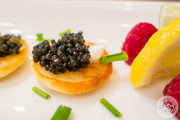 Hackle back caviar at Olma Caviar Boutique & Lounge on the Upper West Side, NYC