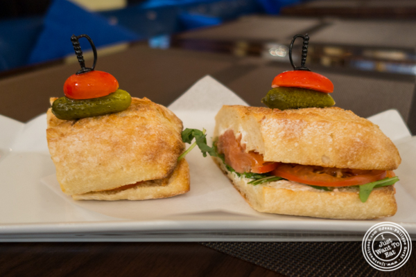 Salmon sandwich at Olma Caviar Boutique & Lounge on the Upper West Side, NYC