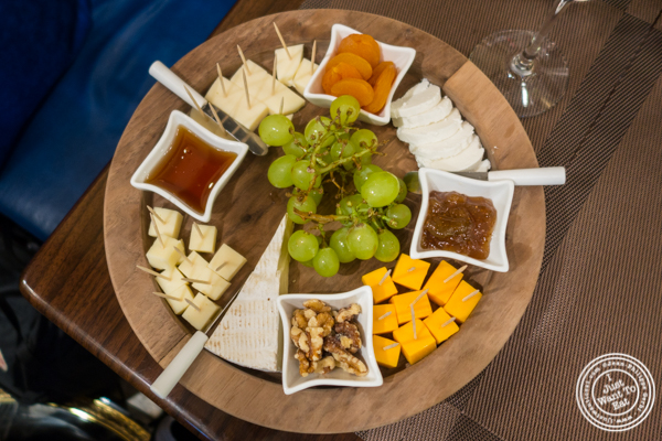 Cheese platter at Olma Caviar Boutique & Lounge on the Upper West Side, NYC