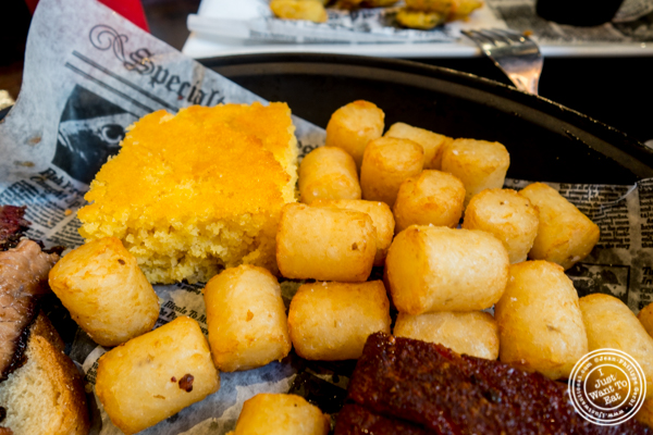 Corn bread and tater tots at Sammy's House of BBQ in Times Square, NYC