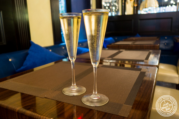 Champagne at Olma Caviar Boutique & Lounge on the Upper West Side, NYC