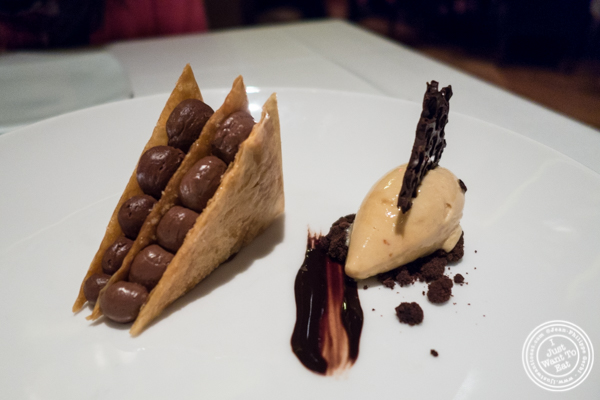 Caramelized chocolate napoleon at Reserve Cut at The Setai in the Financial District, NY
