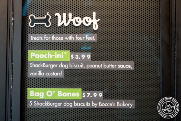 Dog menu at Shake Shack on 36th street in Manhattan