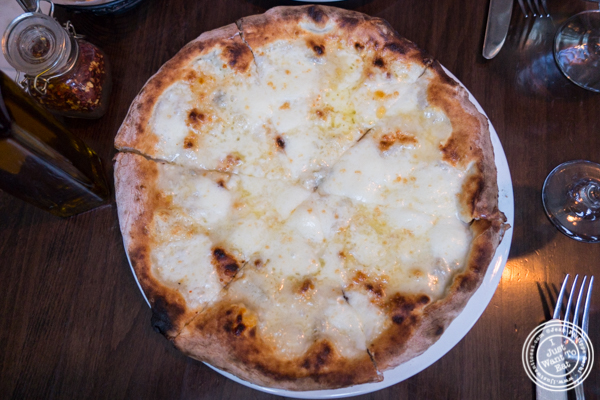 Quattro formaggi pizza at Tutti Matti in Long Island City, Queens