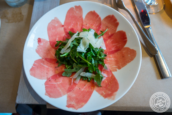 Beef carpaccio at Bread in Lolita, NYC