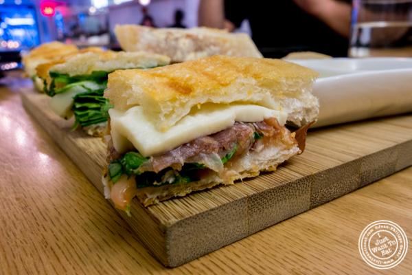 Small bite made with focaccia, speck and cheese at Al Vicoletto near Union Square, NYC