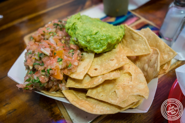 Guacamole, pico de gallo and chips at La Taqueria in San Francisco, CA