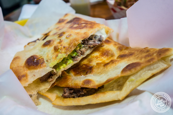 Beef tongue quesadilla at La Taqueria in San Francisco, CA