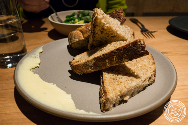 Kernza bread with butter at The Perennial in San Francisco, CA
