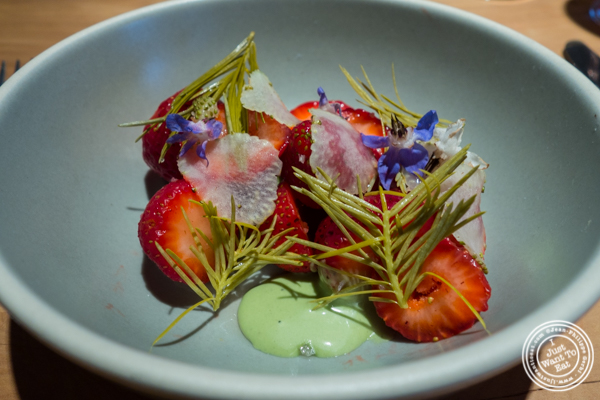 Strawberries with pickled Douglas Fir tips at The Perennial in San Francisco, CA