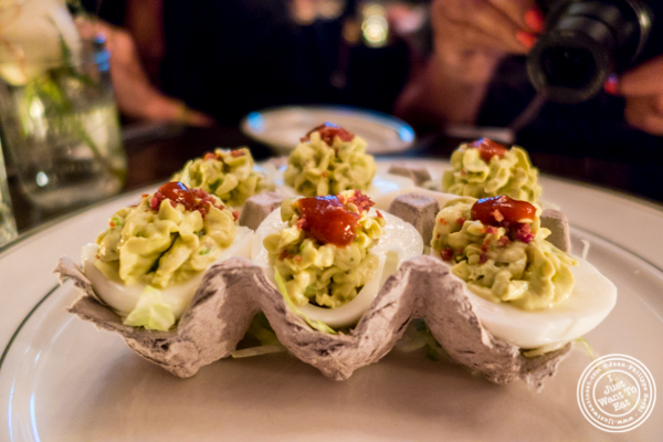 Avocado bacon deviled eggs at The Malt House FiDi in NYC, NY