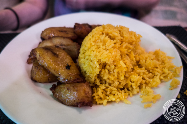 Rice and plantains at Rice 'n' Beans in Hell's Kitchen, NYC, NY