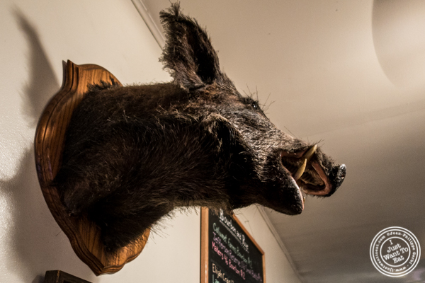 Boar head at Georgia's Eastern BBQ in the Lower East Side, NYC