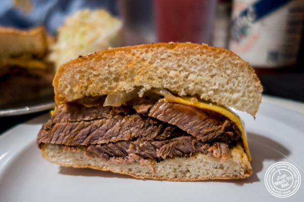 Brisket melt sandwich at Georgia's Eastern BBQ in the Lower East Side, NYC