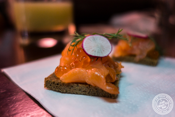 Smoked salmon toast at Raoul's, French Restaurant in NYC, NY