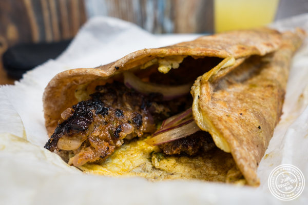Shish kebab kati roll at Dilli Junction in Hoboken, NJ