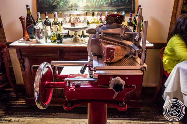 Meat slicer at Bistecca Fiorentina in NYC, NY