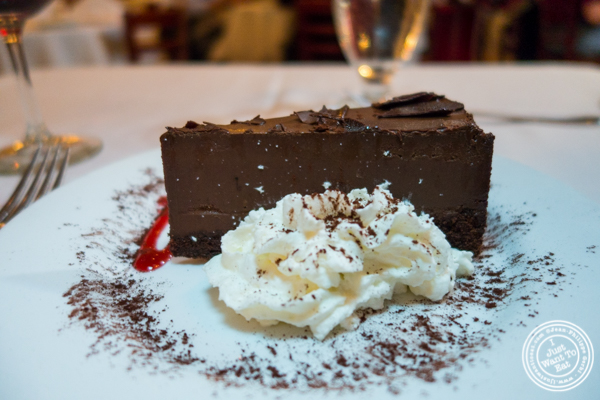 Chocolate mousse cake at Bistecca Fiorentina in NYC, NY