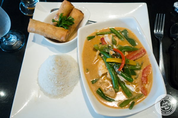 Penang curry and spring rolls at Room Service in Hell's Kitchen, NYC