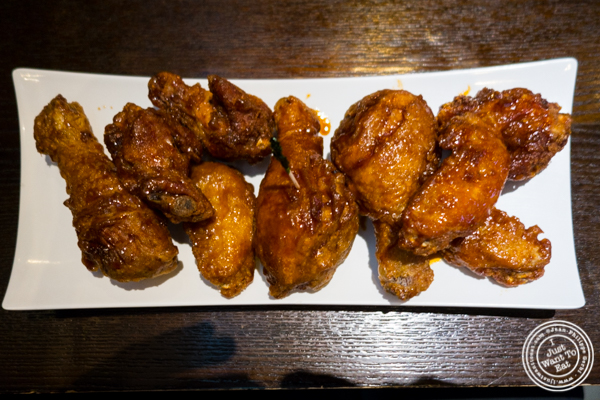 Chicken wings and thighs at BonChon Chicken, Financial District, NYC, NY