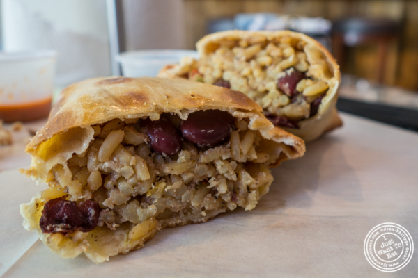 Rice and beans empanada at Empanadas Café in Hoboken, NJ