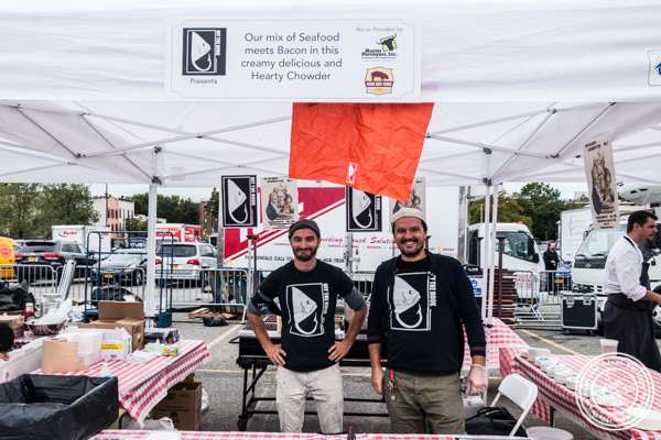 Glen Fejulla and Bes Levonja, the owners of Off The Hook in Astoria at The Great Big Bacon Picnic in Williamsburg, Brooklyn