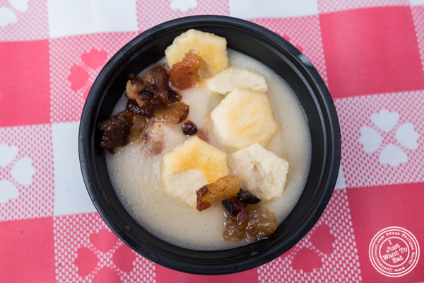 Clam chowder with bacon from Off The Hook in Astoria at The Great Big Bacon Picnic in Williamsburg, Brooklyn