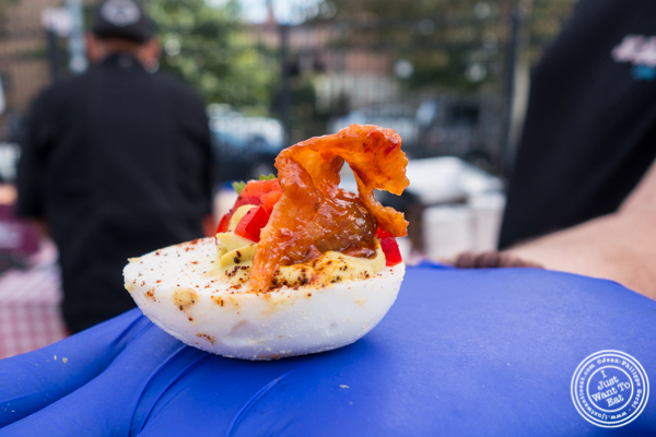 Deviled egg with bacon at The Great Big Bacon Picnic in Williamsburg, Brooklyn